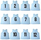 Oso Athletics Set of 12 Premium Mesh Numbered Scrimmage Vest Pinnies Team Practice Jerseys for Children, Youth, and Adult Sports Basketball, Soccer, Football, Volleyball, Lacrosse (Blue, Adult)