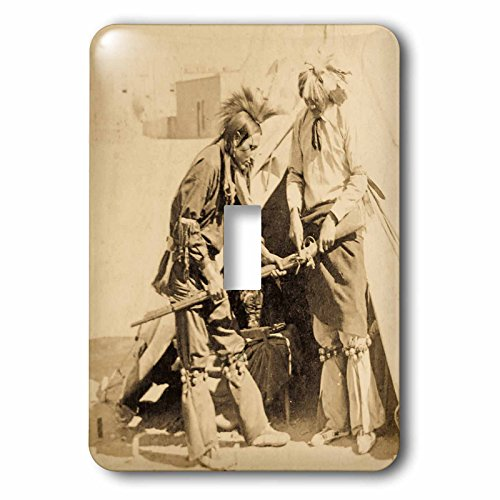 Scenes from the Past Stereoview - Vintage Native American stereoview Studying White Mans Gun - Light Switch Covers - single toggle switch - Men Indian Pic