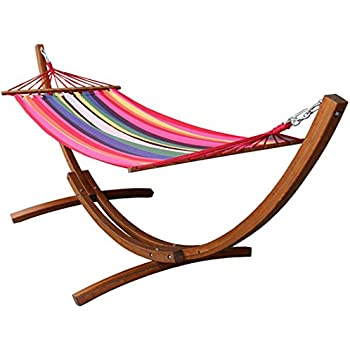 wooden arc hammock stand with chains curved outdoor hammock set single person 10 5 feet cotton hammock garden patio amazon     wooden hammock stand  bo curved standalone   teak      rh   amazon