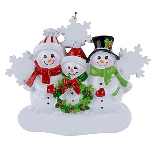 WorldWide Snowman Family of 3 Personalized Ornament (Family Personalized Snowman)
