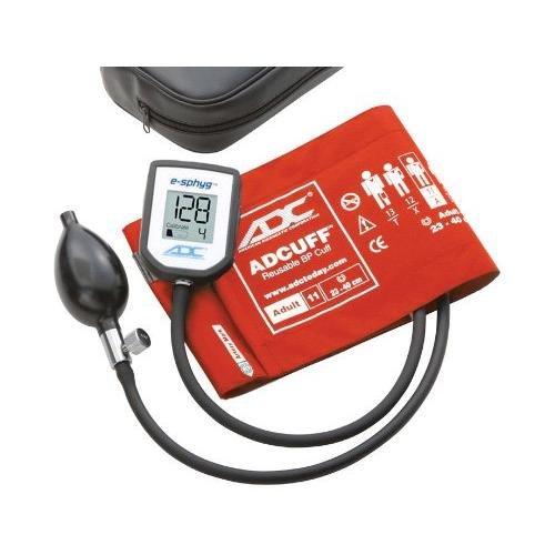ADC 7002 E-sphyg Digital Pocket Aneroid Sphygmomanometer Blood Pressure Monitor, Reusable BP Cuff, Adult, Orange