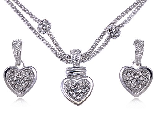 Crystal Rope Earrings (Alilang Clear Crystal Rhinestone Big Full Heart Chain Rope Earrings Necklace Pendant Set)