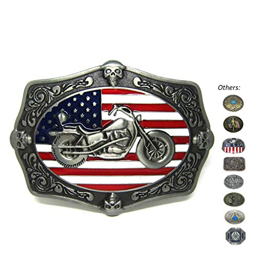Western Motorcycle Skull Decoration American Flag Belt Buckles Novel Buckles for Belts for Mens Women ()