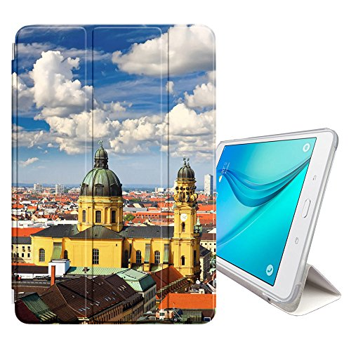 STPlus Munich Germany Postcard City View Smart Cover With Back Case + Auto Sleep/Wake Function + Stand for Samsung Galaxy Tab A 10.1