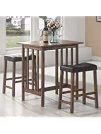 3pc breakfast table and stools set in nut brown - Breakfast Table With Chairs