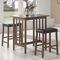 3pc Breakfast Table and Stools Set in Nut Brown