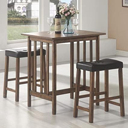 3pc Breakfast Table and Stools Set in Nut Brown & Amazon.com - 3pc Breakfast Table and Stools Set in Nut Brown - Table ...