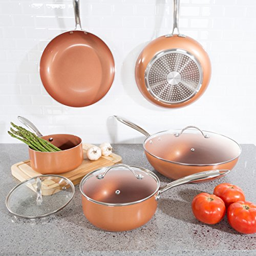 8 Pc Cookware Set with 2 Layer Nonstick Ceramic Coating