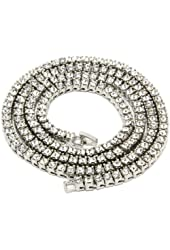 """Mens Silver Plated Iced Out 30"""" 1 Row Simulated Diamond Hip-Hop Chain Necklace"""