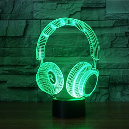 3D Lamp Wireless Headphone Night Light Touch Table Desk Optical Illusion Lamps 7 Color Changing Lights Home Decoration Xmas Birthday (Planet White Headphone)