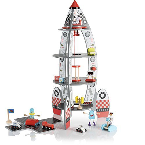 Elc Toy Shop - Pidoko Kids Space Ship Rocket Center - Includes Astronauts and Accessories - Wooden Doll House Station Playset - Spaceship Toys For Boys and Girls
