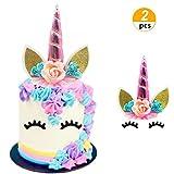 (2 Pcs) JeVenis Rainbow Unicorn Cake Toppers Unicorn Cake Decoration with 1 Pairs Eyelashes for Birthday Party Unicorn Themed Baby Shower (Pink)
