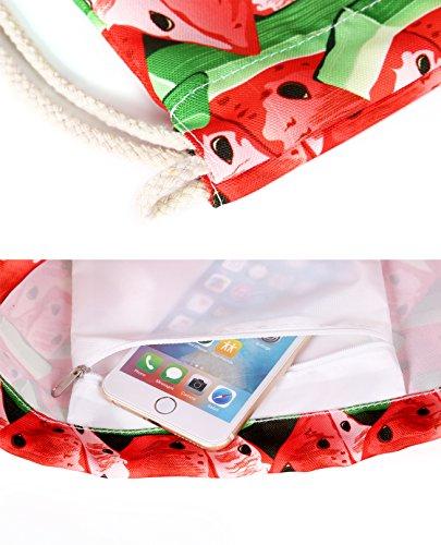 Artone Eulen Zeichnung Polyester Kordelzug Tasche Reise Tagesrucksack Sportarten Tragbar Daypacks Weiß Rot Wassermelone oJxqK
