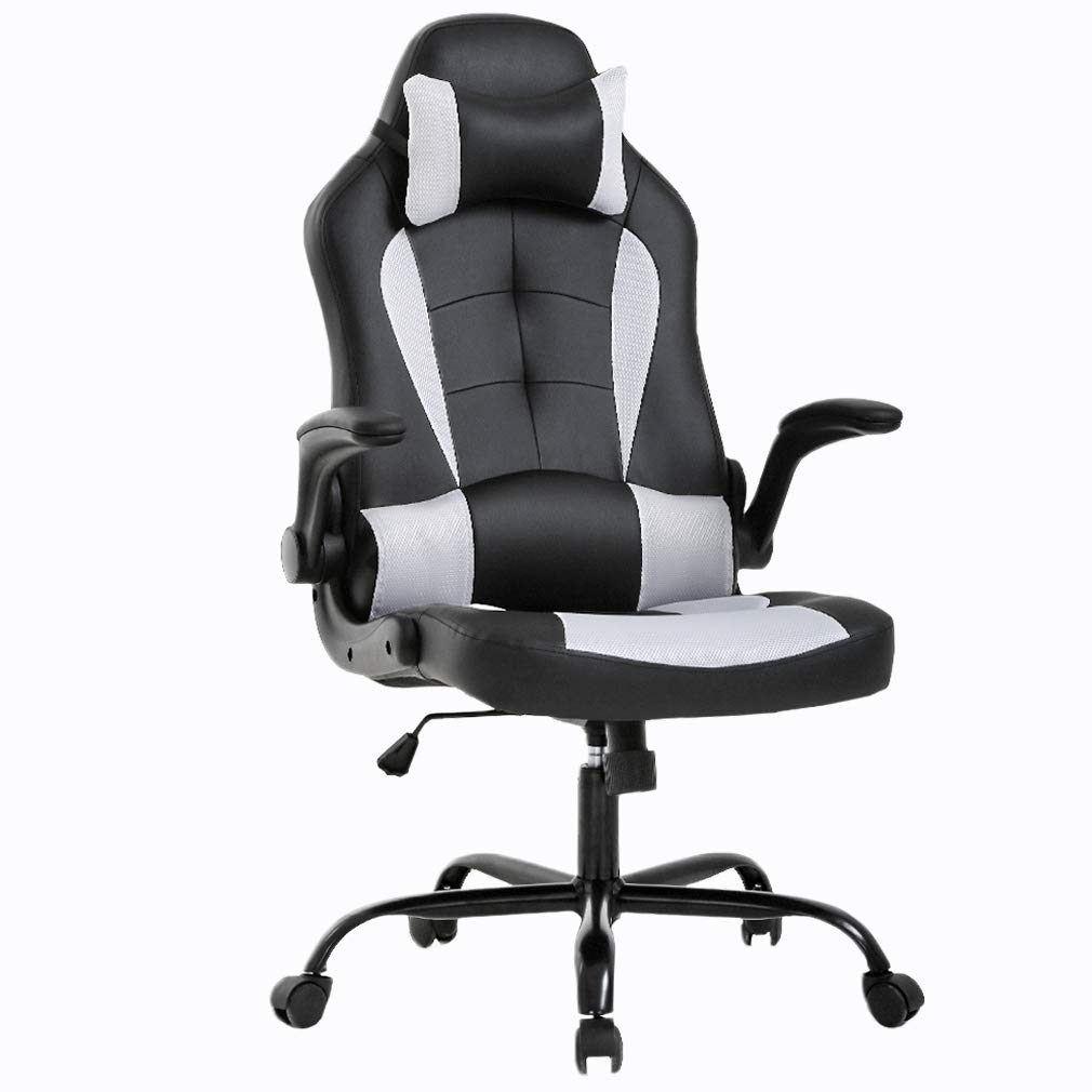 Gaming Chair Office Chair Desk Chair with Lumbar Support Flip Up Arms Headrest Swivel Rolling Adjustable PU Leather Racing Computer Chair for Back Pain,White by BestOffice