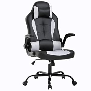 Gaming Chair Office Chair Desk Chair with Lumbar Support Flip Up Arms Headrest Swivel Rolling Adjustable PU Leather Racing Computer Chair for Back Pain,White