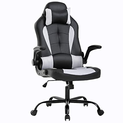 Gaming Chair Office Chair Desk Chair with Lumbar Support Flip Up Arms Headrest Swivel Rolling Adjustable PU Leather Racing Computer Chair for Back ...