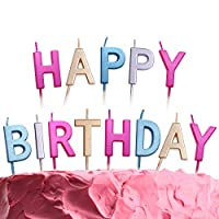 GET FRESH Coloured Happy Birthday Candles - 13 Count Multicolour Letter Birthday Candles for Cakes - Elegant Alphabet Candles for Birthday - Metallic Happy Birthday Cake Candles for Adults and Kids
