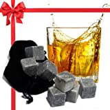 Best Whiskey Stones Gift Set with Magnetic Closure - Unique Present Box - Soapstone Chilling Rocks and Velvet Bag to Cool Bourbon with No Ice - 9 Reusable Cubes - Are Your Dad, Husband, Scotch Lovers?