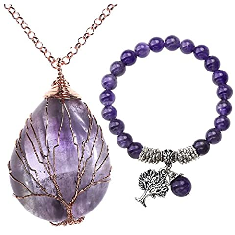 Top Plaza Natural Healing Crystal Chakra Tree Of Life Wire Wrap Water Drop Pendant Necklace Bracelet Jewelry - Life Pendant Wire