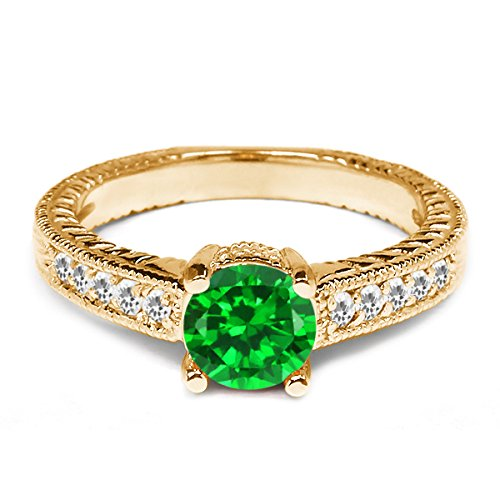 1.70 Ct Green Simulated Emerald and White Topaz 925 Yellow Gold Plated Silver Ring