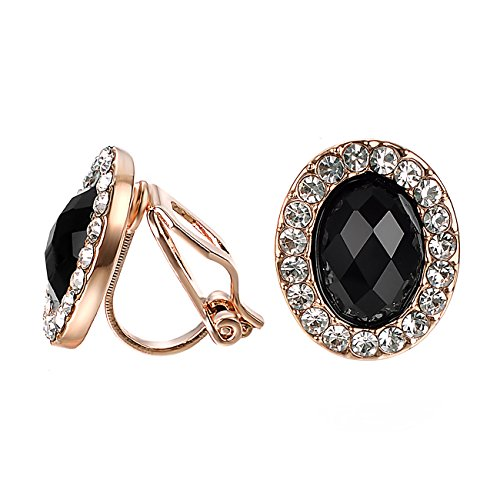 (VOGEM Black Zirconia Earrings Clips Rose Gold Plated CZ Topaz Halo Clip On Earrings For Women Ladies)