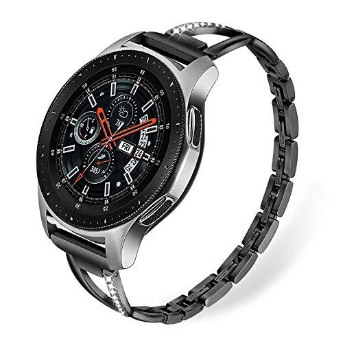(for Samsung Galaxy Watch 46mm / Gear S3 Bands, TRUMiRR 22mm Stainless Steel & Rhinestone Diamond Watchband Quick Release Strap Jewelry Bracelet for Fossil Gen 4 Q Explorist HR, TicWatch Pro)