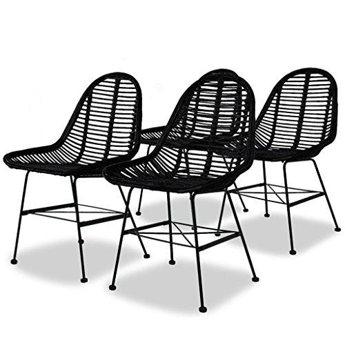 - vidaXL 4X Dining Chair Natural Rattan Wicker Black Colonial Kitchen Home Seat