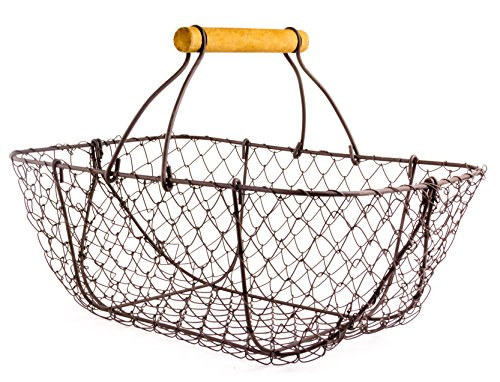 """Picking Metal Wire Basket with Handle - 12"""" x 9"""" x 8"""" from Red Co."""