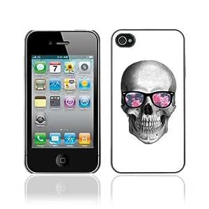 Designer Depo Hard Protection Case for Apple iPhone 4 4S / Hipster Glasses Cool Skull