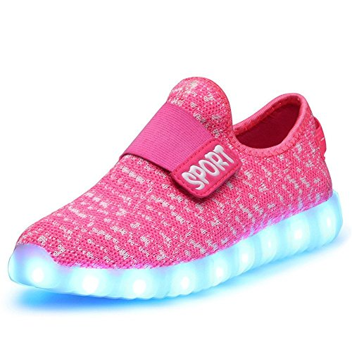 Kids Led Light Up Running Shoes for Boys Girls Breathable USB Flashing Sneakers(Pink 11.5 M US Little Kid) by FG21ds21g