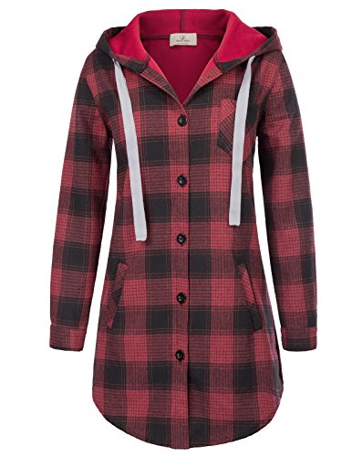 - Young Girls Relaxed Fit Wrinkle Resistant Pocket Plaid Shirt M Red