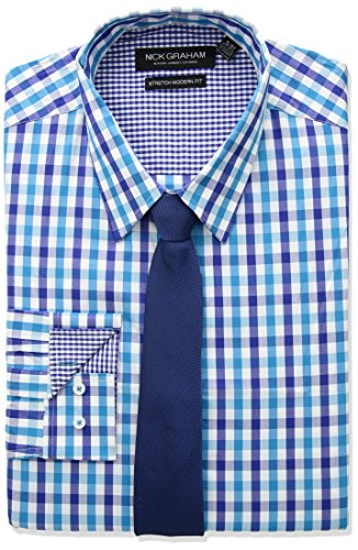 Dress Tie Modern (Nick Graham Men's Modern Fitted Multi Gingham Stretch Shirt with Solid tie, Aqua, M-R 32/33)
