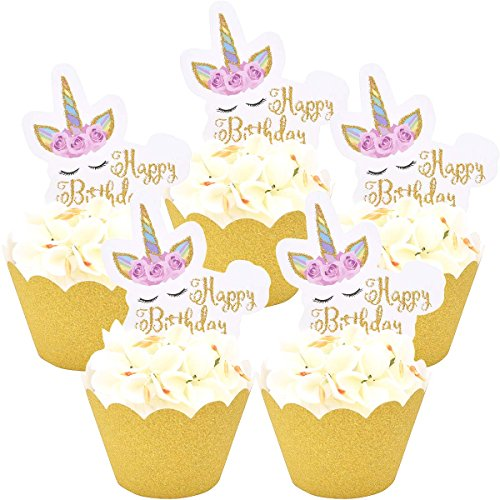 Zealax Set of 1 Dozen Unicorn Themed Cupcake Toppers Gold Wrappers Kids Birthday Party Cake Decoration ()