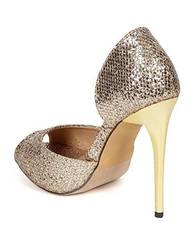 Liliana Ce53 Tela Del Brillo De Las Mujeres Peep Toe Flashy Stiletto Talón Bomba De Oro