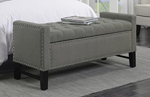 Iconic Home Lance Linen Modern Contemporary Button Tufted with Silver Nailheads Deco on Frame Storage Lid Can Stop At Any Position Bench, Dark Grey (Bench At Home)