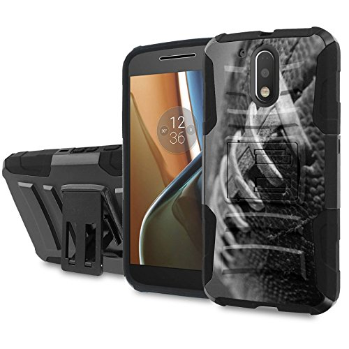 Moto [G4] [G4 Plus] Armor Case [SlickCandy] [Black/Black] Heavy Duty Defender [Holster] - [FootBall] for Motorala G [4th Gen] [G4 XT1625] [G4 Plus XT1644] -  SlickCandy for Moto [G4] [G4 Plus], P-MOTOG4-1E6-BKBK-CBT-P013C