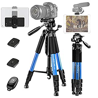 """JOILCAN 65"""" Camera/Tablet/Phone Tripod, Aluminum Lightweight Tripod Stand 11 lbs Load with Universal Phone/Tablet Mount,2PC Quick Plates for Cannon Nikon Camera,IPAD and iPhone(Blue)"""