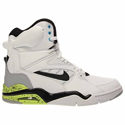 Nike Men's Air Command Force Retro Basketball Shoes White/Black-Wolf Grey-Volt Size 8.5 US