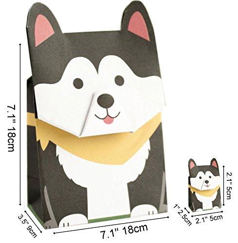 GOTOME Animal Gift Bag Origami Paper Bags Set, Husky, 1 Large & 1 Small, 7.5