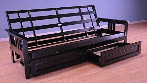 Monterey Futon Sofa in Black Finish with Storage Drawers by Kodiak Futons