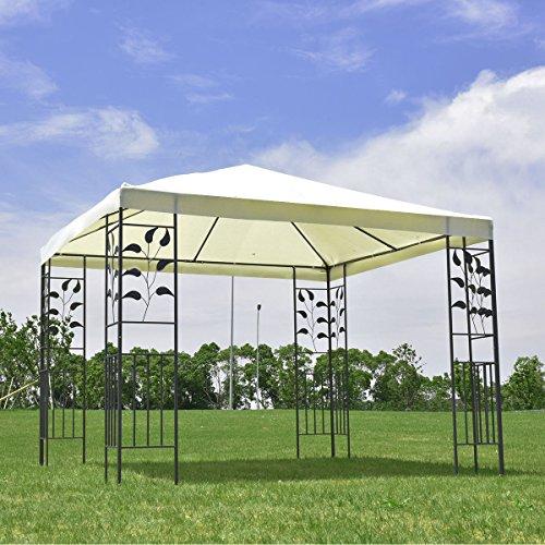 Tangkula 10'x10' Patio Gazebo Canopy Tent Steel Frame Shelter Awning (Beige)