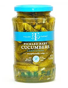 Tillen Farms Veggies, Pickled Baby Cucumbers, 12 Ounce (Pack of 4)