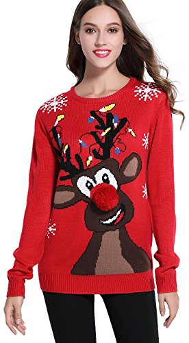 Women's Christmas Cute Reindeer Knitted Sweater Girl Pullover (Large, Lighting)