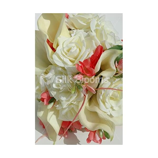 Real Touch Ivory Rose Peach Freesia Calla Lily Wedding Bouquet