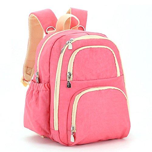 Bolsa de la momia, bolso de hombro, de gran capacidad de múltiples funciones bolso de la madre de la moda, bolsa de la madre y el bebé, salir a producir mochila ( Color : Gris ) Pink