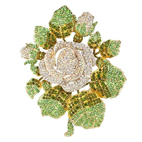 EVER FAITH Austrian Crystal Wedding Bridal Romantic Rose Flower Leaves Brooch Clear Gold-Tone