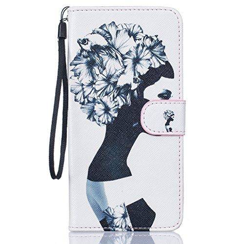 Feeltech Samsung Galaxy S5/(I9600) Funda,Elegante Cuero de la PU Carcasa de la Cartera del Tirón [Cierre Magnético] Impresión de Patrón de Dibujo Divertido Clásico Folio Estilo de Libro Diseño Caso Fu Negro Blanco Mujer