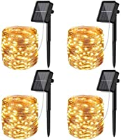 [4 Pack]Solar Fairy Lights Outdoor, 12m 120LED Solar String Lights Waterproof 8 Modes Copper Wire Decorative Solar...