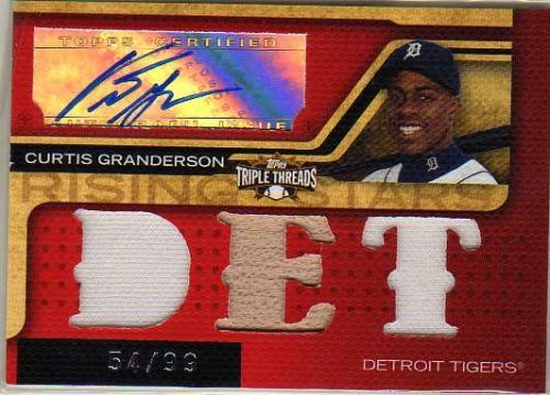 2008 Topps Triple Threads #187 Curtis Granderson Autograph Jersey / Bat Card Serial #54/99 - Detroit Tigers