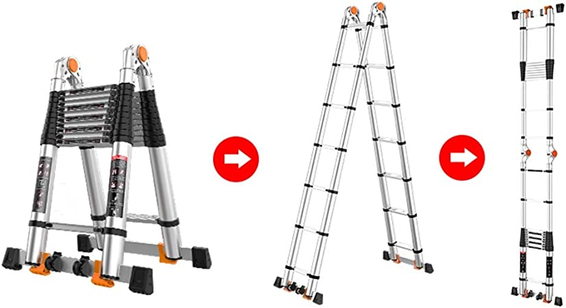 Escalera telescópica Multiusos con Barra estabilizadora, Escaleras de extensión de Aluminio para Trabajo Pesado para la Oficina de Home Loft, 3.8/4.6/5.4/6 / 6.8m: Amazon.es: Hogar